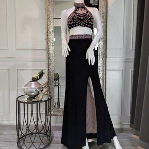 Black Floral Formal Evening Prom Dress Gown